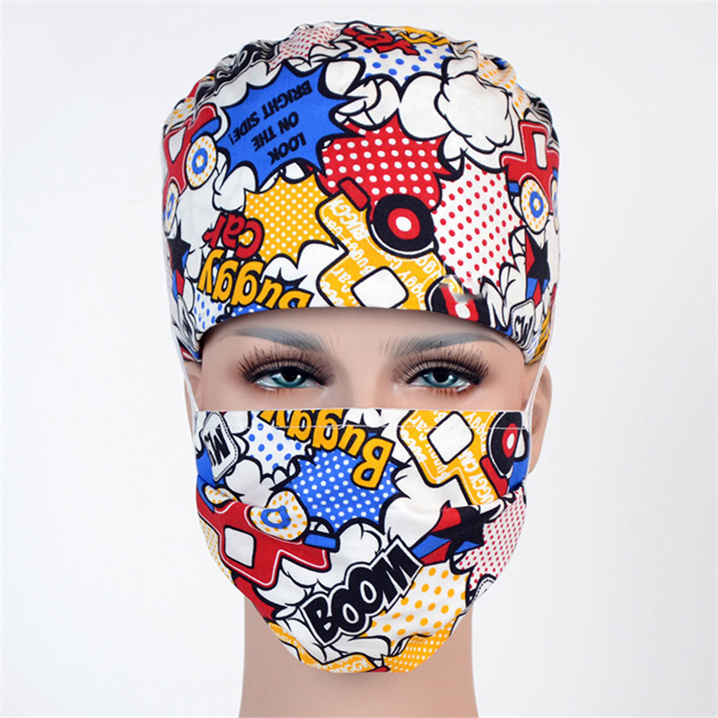 Surgeon Pediatrician Medical Scrub Caps Hospital Surgical Work Hats For Women And Men 100% Cotton With Sweat Band Boom Pattern