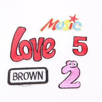 New Arrival 1PCS Number 5,2, Love,Music,Brown Logo DIY Embroidered patches Iron On Cartoon Brooch Applique Embroidery Accessory image