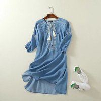 QPFJQD Sweet Little Fresh 18 Spring Summer New Chest Embroidery Pleated Pullovers Denim Blue Dress