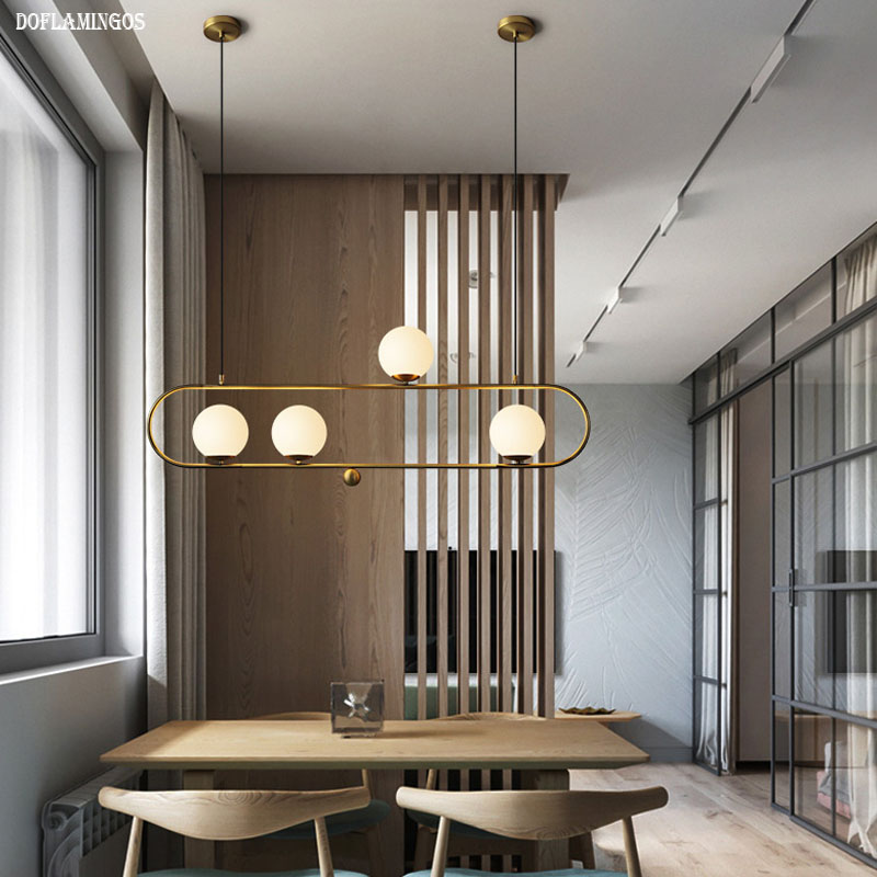 NEW Nordic magic chandelier postmodern personality creative bedroom bar restaurant glass ball E27 LED chandelier Golden