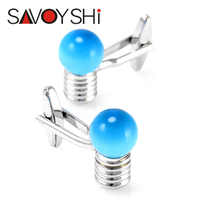 SAVOYSHI Novelty Blue Glass Bulb Cufflinks for Mens Shirt Cuff buttons High Quality Silver Cufflinks Fashion Brand Men Jewelry