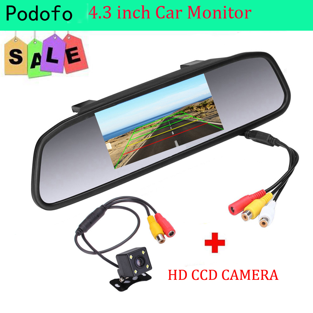 Podofo Car HD Video Auto Parking Monitor, 4 LED Night Vision CCD Car Rear View Camera, 4.3 TFT LCD Car Rearview Mirror Monitor