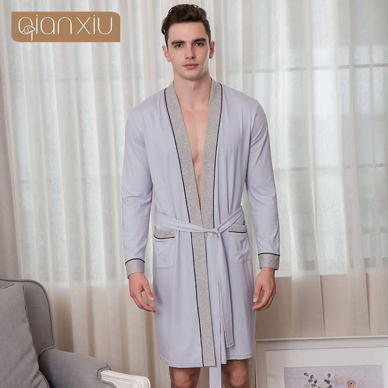 376d71b040 2019 Spring Brand Pajamas Robe Men Soft Cotton Robes Men s Long Sleeve  Bathrobe Male Patchwork color contrast bathrobe Plus size-in Robes from  Underwear ...