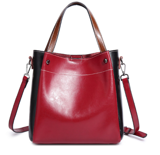 New Genuine Leather Scrub Female Bucket Bag Fashion Elegant Shoulder Bag Korean Style Lady Messenger Bag Hot Girl Handbag C074 new vintage genuine leather lady shoulder bag fashion portable elegant women handbag hot classic exquisite messenger bag c481
