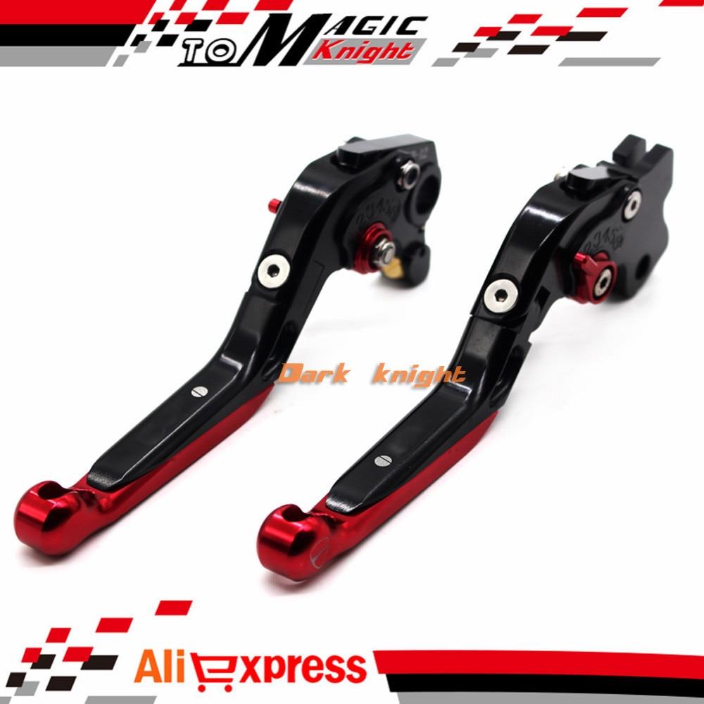 ФОТО For DUCATI HYPERMOTARD 821 Strada 2013-2015 Motorcycle CNC Billet Aluminum Folding Extendable Brake Clutch Levers Black+Red