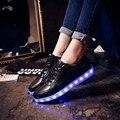 Llevó los zapatos para adultos zapatos de moda más el tamaño de luz led luminoso led ocasional arriba 2017 mujeres zapatos para adultos