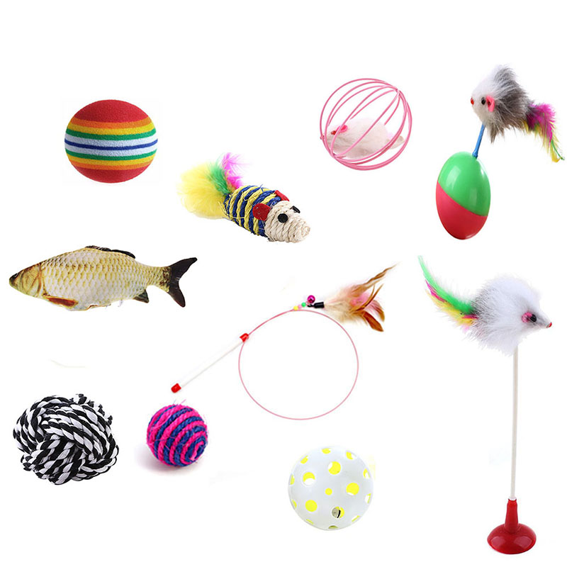 10pcs/lot Pet Cat toy Set Feather Teaser Wand Catnip Toys New Ball Rings Interesting Cats Interactive Products