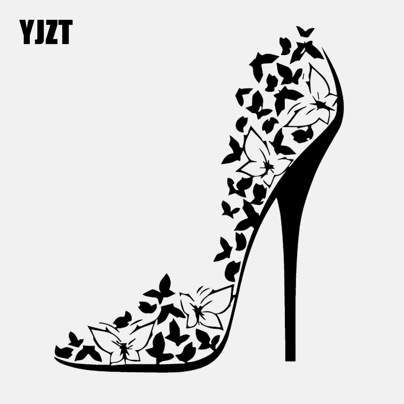 YJZT 13.6CM*16.2CM Vinyl Decal Sexy High Heel Shoes Stiletto Butterflies Car Stickers Black/Silver C24-0390