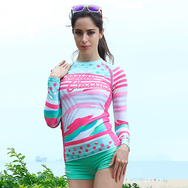 Rash Guard Women Rashguards Swimming Suit Swim Shorts Woman Wind Surf Long Sleeve Diving Shirt Beach Wear VY012