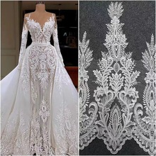 2 yards Clear sequin Alencon lace fabric trim in vintage style, off white bridal veil wedding gown hem by yard