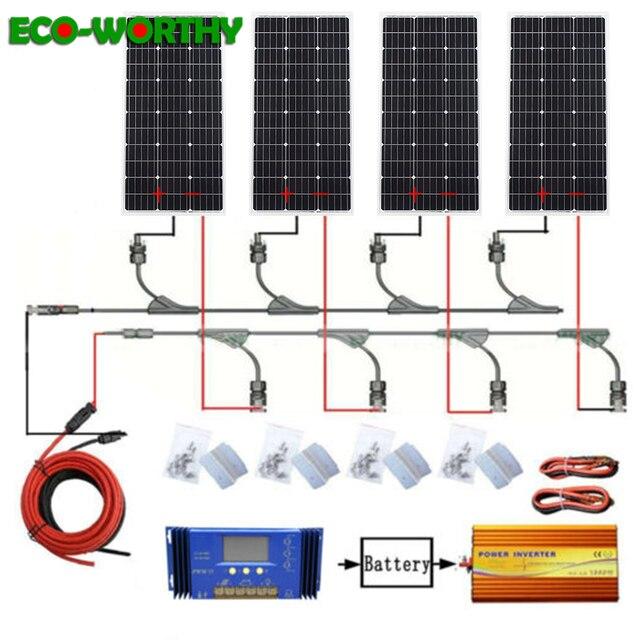ECOworthy 400 W zonnestelsel: 4 stuks 100 W mono solar power panel & 60A controller & 12 V 110 V 1000 w omvormer lading VOOR 12 V batterij