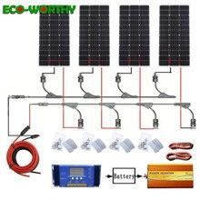 Sistema solar ecocorthy de 400 W: 4 piezas 100 W mono panel de energía solar y 60A controlador 12 V 110 V 1000 w inversor carga para batería de 12 V