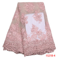 Latest High Quality 3D Lace Fabrics Pink French Mesh Embroidery Lace With Beaded And Sequins Nigerian