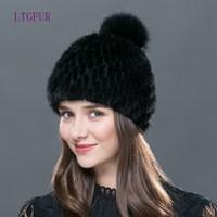 LTGFUR Real mink fur hat knitted winter hat mink hat fox fur pom poms new cap 2017 new hot sale high quality female beanies