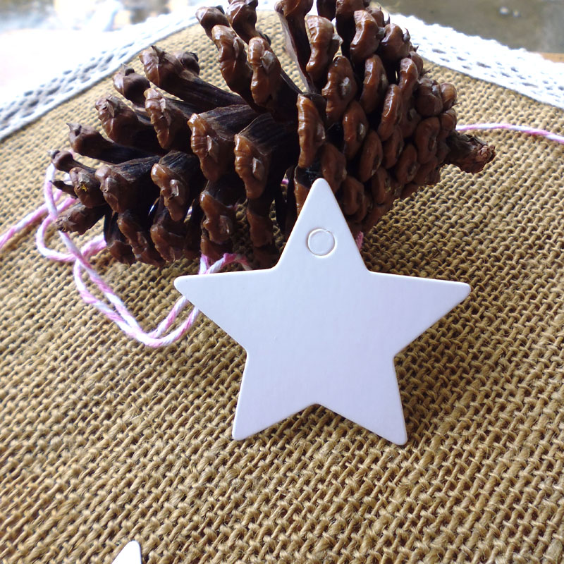500pcs (String Included) Lovely Star Shape DIY White Gift Tag/Hang Tag ,White Star Blank Party Deco Paper Cards