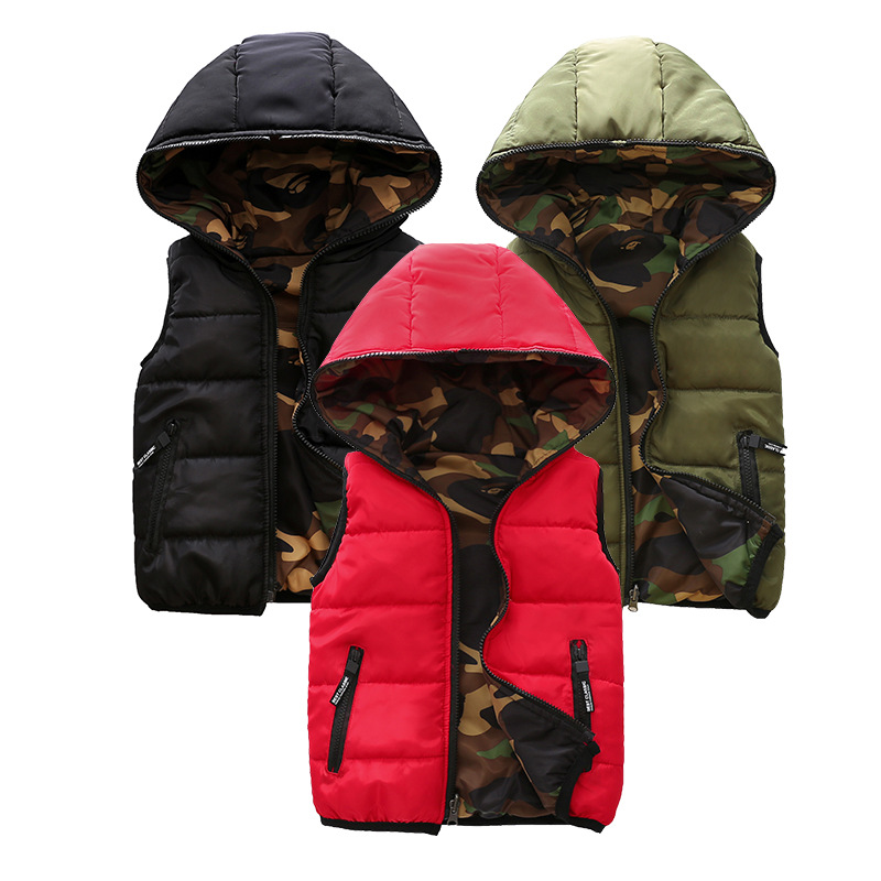 Hooded Winter Child Waistcoat Children Outerwear Kids Clothes Warm Cotton Baby Boys Girls Vest Two-side Wear For 3-14 Years OldHooded Winter Child Waistcoat Children Outerwear Kids Clothes Warm Cotton Baby Boys Girls Vest Two-side Wear For 3-14 Years Old
