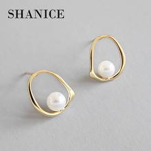 SHANICE Gold Color Pearl Round Circle Geometric Design 925 Sterling Silver Stud Earrings for Women Girls Jewelry Christmas