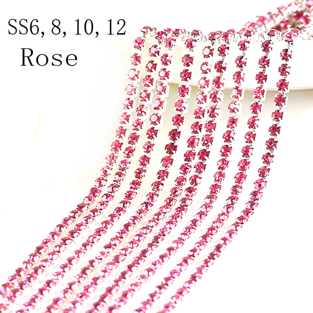 All Size Rose rhinestone cupchain silver setting SS6 d8e3d0a3f988