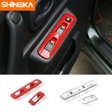 цена на SHINEKA ABS Car Interior Window Lift Button Decoration Cover Trim Frame Panel Sticker For Suzuki Jimny 2007+ Car Styling