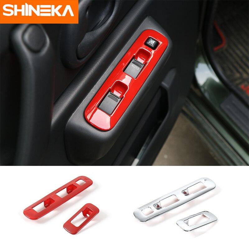 SHINEKA ABS, cubierta de decoración de botón para elevador de ventana Interior de coche, molduras de Marcos, Panel adhesivo para Suzuki Jimny 2007 + estilo de coche