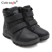 Cute Eagle Winter Genuine Leather Boots For Boys New Warm Snow Pedal Childrens Cotton Outdoor EU size 32-37