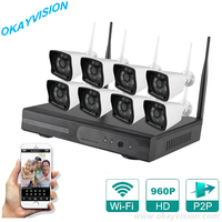 Plug And Play 8CH NVR Wireless CCTV System 960P HD H 264 6 Array IR Outdoor
