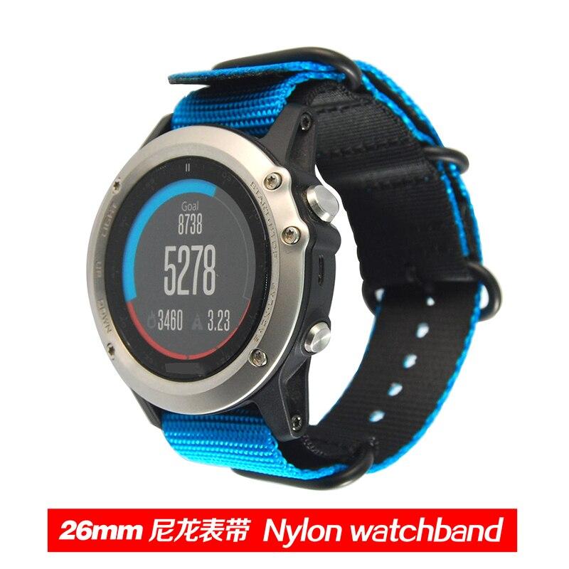 Two-tone 26mm Nylon Canvas Braided Replacement Wrist Watch Band Strap Belt   For Garmin Fenix 3 Fenix3 Accessories