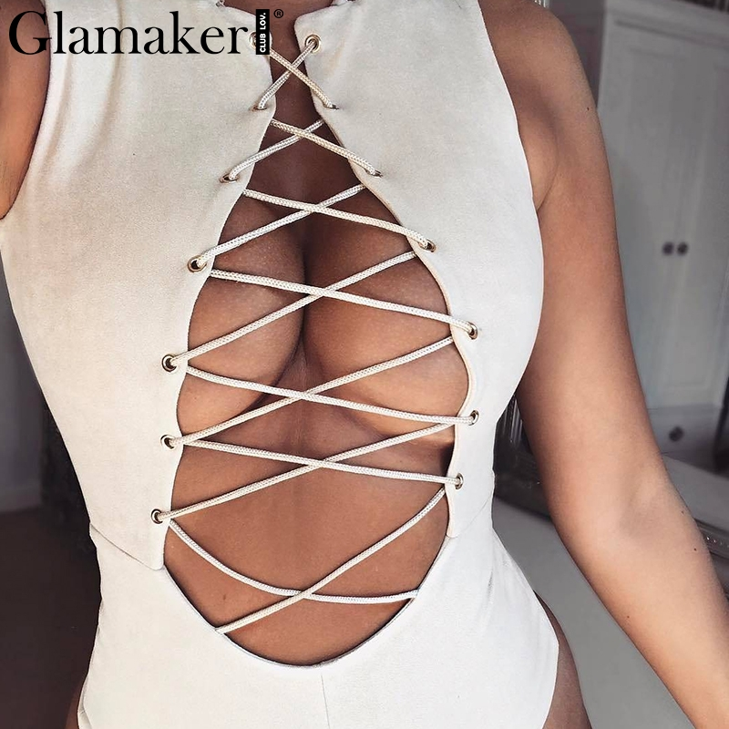 894383a877 Glamaker Leather suede party lace up sexy bodysuit Autumn style jumpsuit  women playsuit Hollow out bodycon jumpsuits rompers-in Bodysuits from  Women s ...