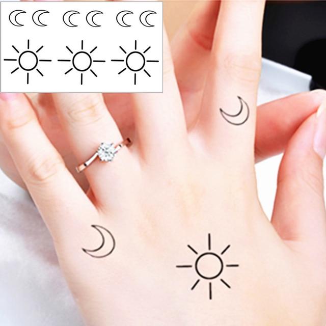 Shnapign 25 Estilo Tatuaje Temporal Cuerpo Arte Pequeño Sol Y Luna