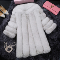 2017 New Direct Selling Fur Single Three Quarter Regular O neck Fur Vest Coat Finland Coat Seven Quarter And Long