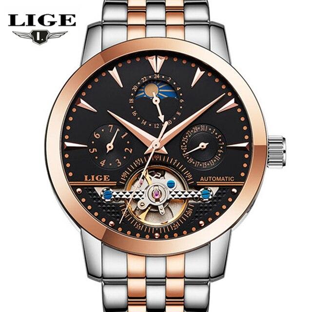 Relogio masculino LIGE new moon phase saat watch flywheel men's waterproof steel strap automatic mechanical watch men's watch