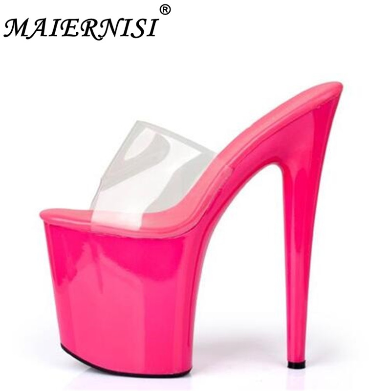 Sandals Summer 2019 Crystal Slipper Ultra High Heels 20cm Transparent Waterproof Cool Slippers fine with Big yards Women's Shoe 2017 han edition of the new fashion women s shoes big yards high heels crystal cool slippers 15cm