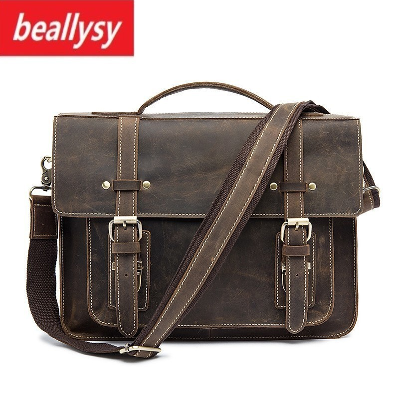 2018 Men Messenger Bags Crazy Horse Genuine Leather Shoulder Leather Laptop Bag Vintage Crossbody Bags Men Briefcase Handbags yinfente 4 4 violin case box black mixed carbon fiber oblong case strong light 2 1kg music sheet bag full size