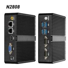 Fanless Mini PC Computer Intel Celeron N2808 2810 Processor Windows 10 pfsense 2 LAN 2 RS232