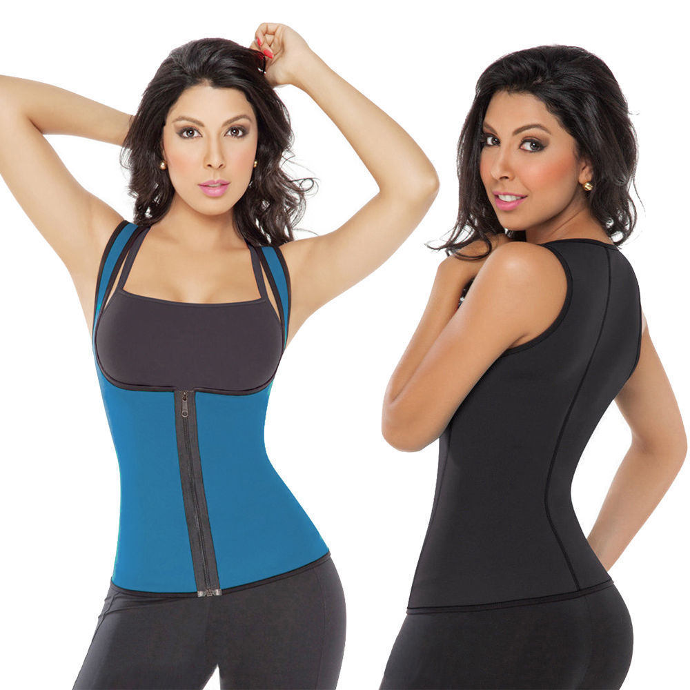 Women Ultra Sweat Zipper Body Shaper Corset Waist ...