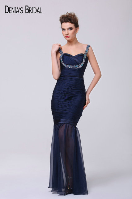 Real Navy Blue Evening Dresses Beaded Ruched Spaghetti Floor Length ...