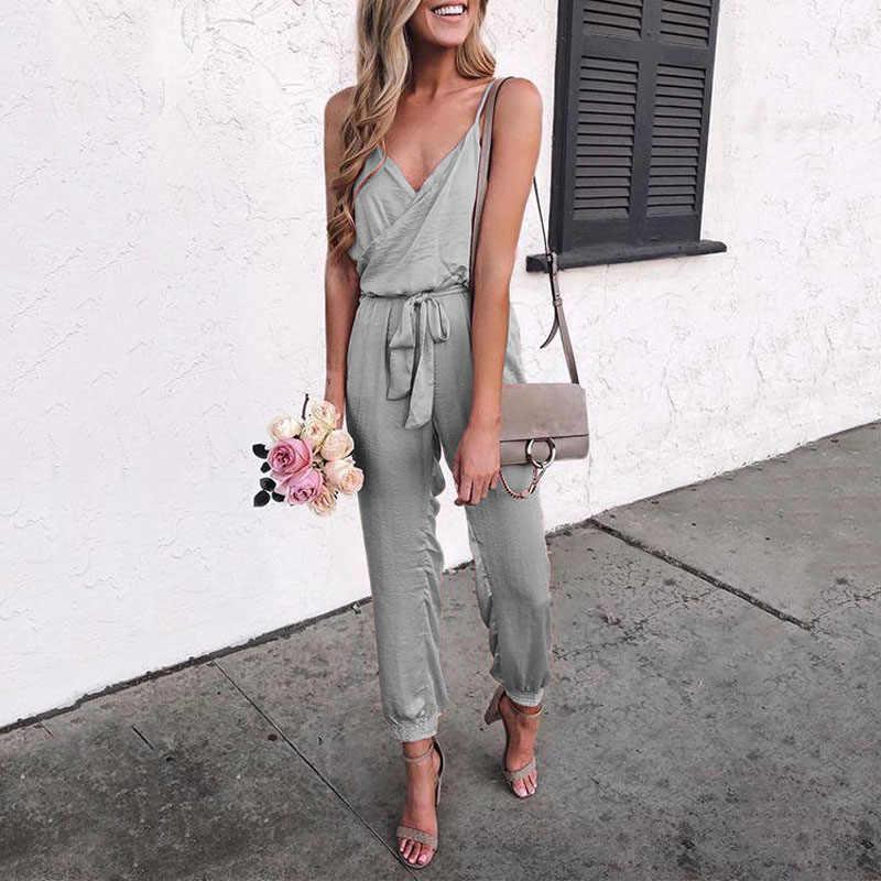 2019 женские летние без рукавов Спагетти ремень v-образным вырезом твердые сексуальные пояса комбинезон длинные женские укороченные брюки больших размеров