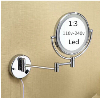 ФОТО Hot Bathroom Chrome Wall Mounted 8 inch Brass 3X/1X Magnifying Mirror LED Light Folding Makeup Mirror Cosmetic Mirror Lady Gift