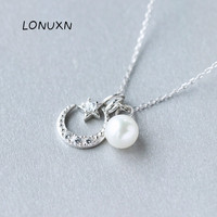 high quality Solid 925 Sterling Silver Jewelry Pendant Moon Stars Charm Pendant Necklace