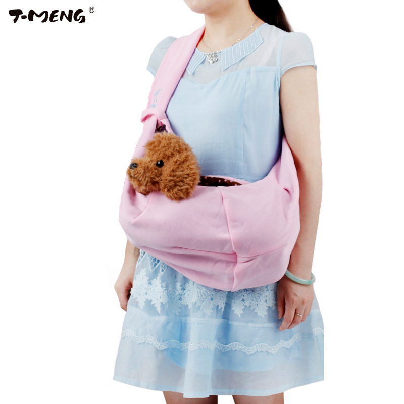 T-MENG Hands-free Reversible Small Dog Cat Sling Carrier Bag Travel Tote Soft Comfortable Double-sided Pouch Shoulder Carry Hand