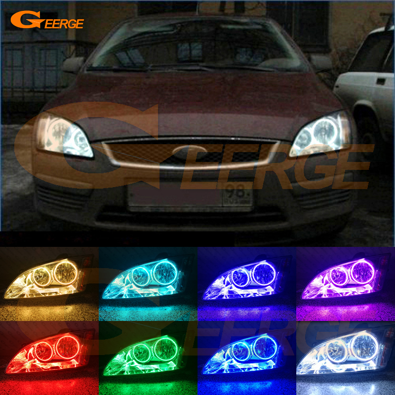 For Ford Focus II Mk2 2004 2005 2006 2007 2008 Europe headlight Excellent Multi-Color Ultra bright RGB LED Angel Eyes kit new for ford focus ii da