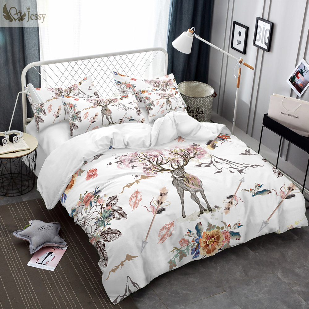 Jessy Home Bedding Set Floral Moose Duvet Cover Animal Reindeer Duvet Cover Set for Kids Deer Bedspread Without Fillings