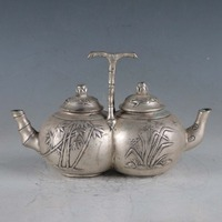 christmas Chinese Rare Silvering Copper Bamboo Double Teapot Made By The Royal DaQing halloween