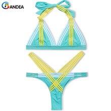 Bandea лето купальники сексуальное бикини набор бразильский купальник лоскутная бикини марка женщины купальный костюм, высокая шея, купальники ha065