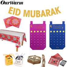 OurWarm EID Mubarak Ramadan Kareem Decorations Felt Calendar Hanging Pendants Banner Candy Box Muslim Islam Eid Party Supplies
