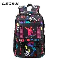 DECRJI Fashion Unisex USB Charging Backpack Women Men Glowing Large Waterproof Laptop School Bag Backpack For Teenagers Printing