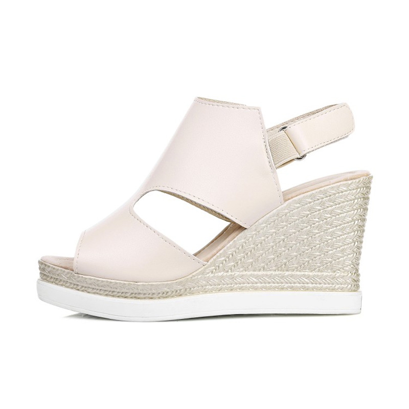 84f0e34202c3 GENSHUO New 8CM Women Platform Sandals Black Silver Beige Women Gladiator  Sandals Fashion Wedge Shoes Small 33 Big Size 43-in High Heels from Shoes  on ...