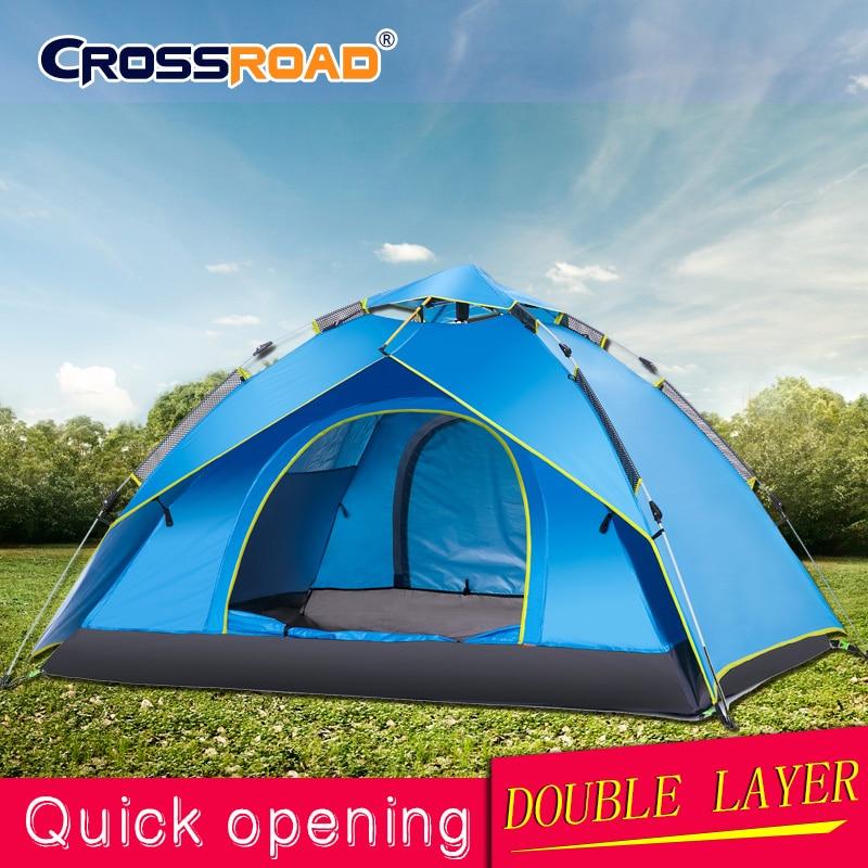 Double couche rapide automatique ouvert 3-4 personnes Camping tente imperméable Anti ouvert UV tentes touristiques pour randonnée en plein air plage voyage