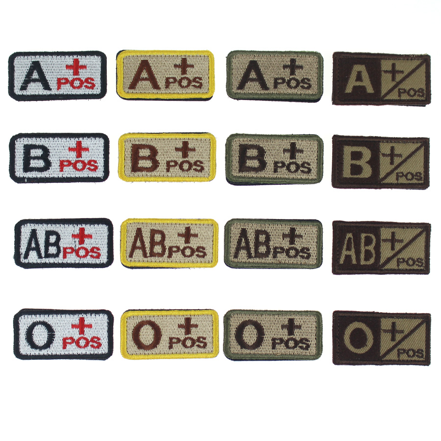 Blood Type Patches Military Tactical Embroidered A+ B+ AB+ O+ Positive Morale Armband Badges stripes for Clothes with Hook&Loop ...