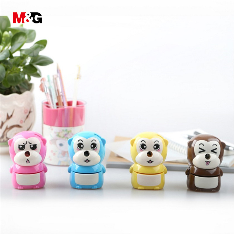 M&G quality cute monkey shape mechanical pencil sharpener for school supplies kawaii kid gift pencil sharpener office stationery deli stationery pencil sharpener mechanical cartoon kawaii pencil sharpener cute pencil sharpener office & school supplies